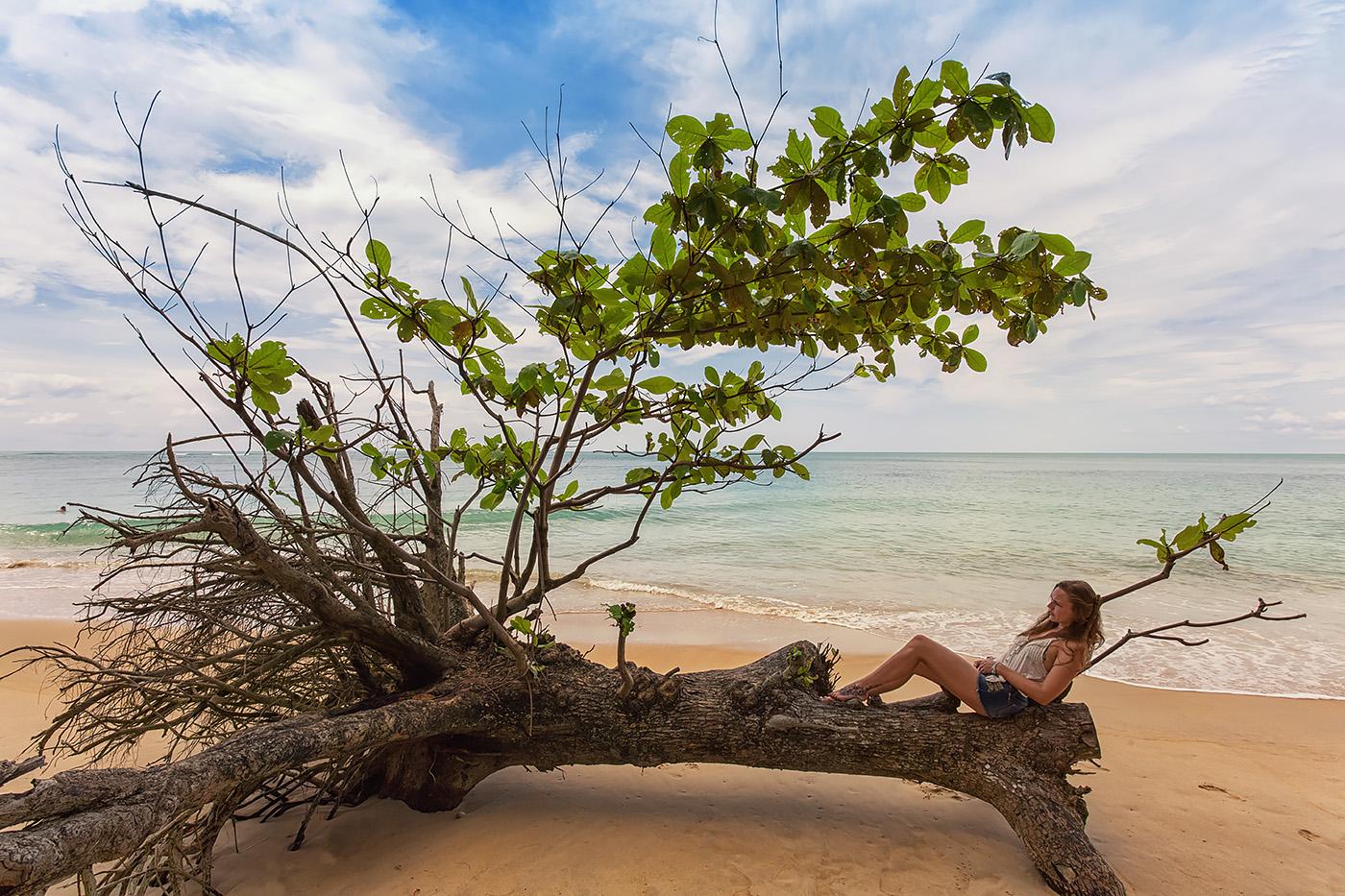 Frau relaxed auf Baum an Strand in Thailand