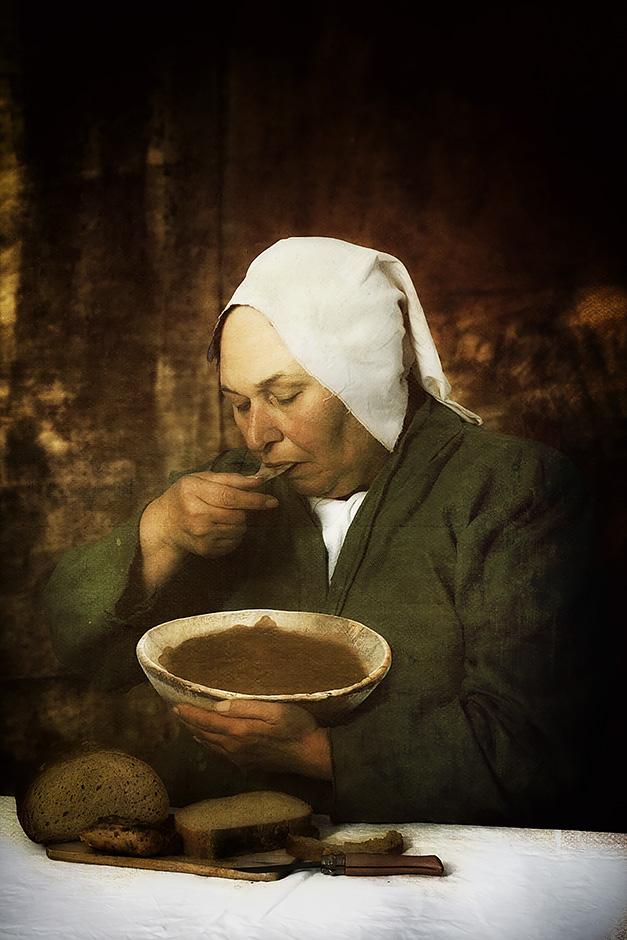 Pieter Bruegel der Aeltere Die Bauernhochzeit 1568 Ausschnitt - Nicole Friedersdorf - Darkdirndl - Historic Couture