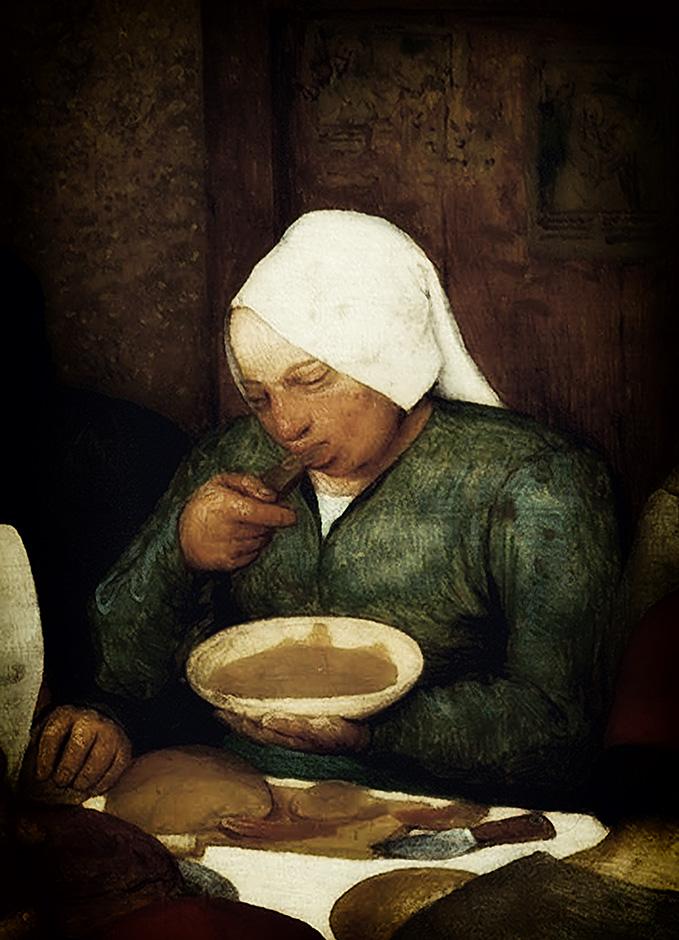 Pieter Bruegel der Aeltere Die Bauernhochzeit 1568 Ausschnitt